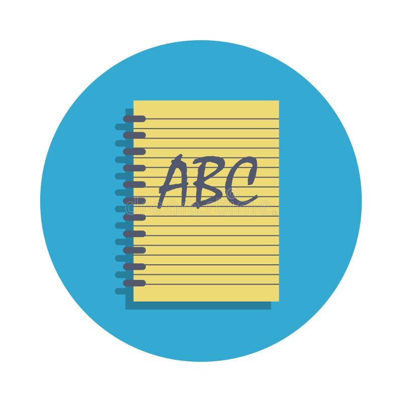 notatnik barwiący w błękitnej odznaki ikonie Element szkolna ikona dla mobilnych pojęcia i sieci apps Szczegółowa notatnik ikona  royalty ilustracja