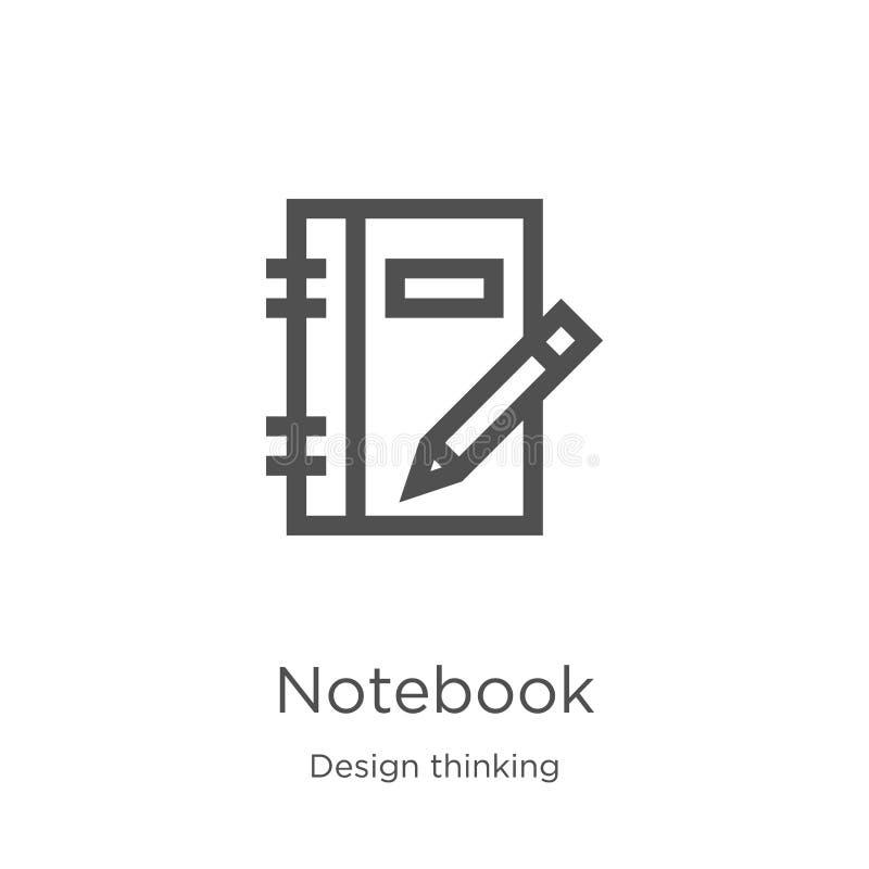notatnik ikony wektor od projekt myślącej kolekcji Cienka kreskowa notatnika konturu ikony wektoru ilustracja Kontur, cienieje li ilustracji