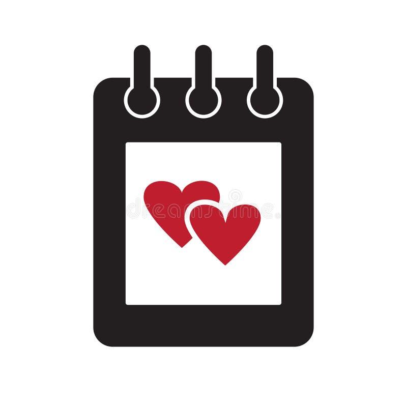 Notatnik lub kalendarz z czerwonymi sercami czarny i bia?y ikona wektor royalty ilustracja