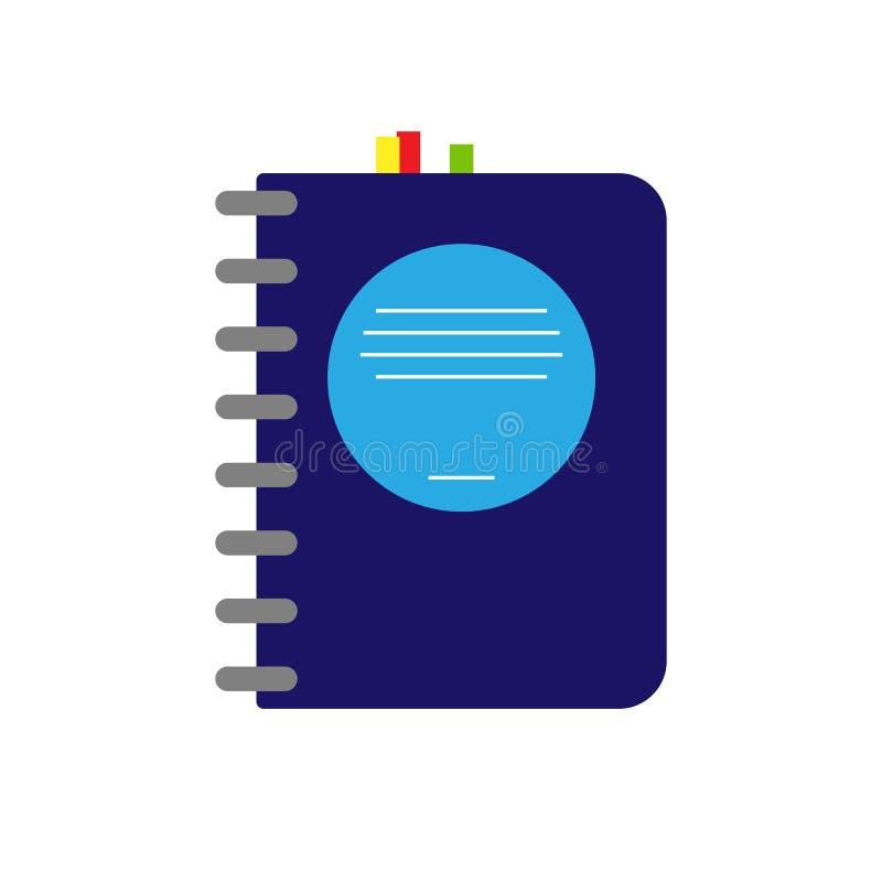 Notatnik lub notes na adresy z bookmarks, płaski projekt ilustracja wektor