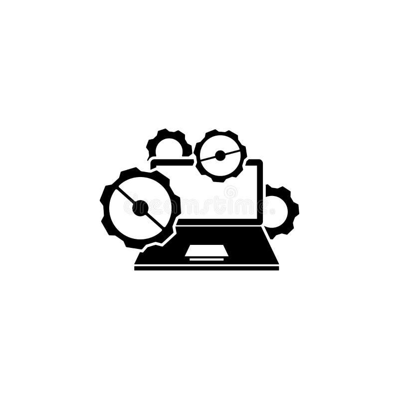 Notatnik naprawa, przekładni ikona Element remontowa ikona dla mobilnych pojęcia i sieci apps Szczegółowa notatnik naprawa, przek royalty ilustracja