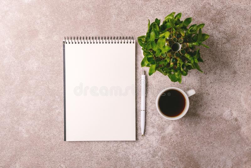 Notatnik, pióro, bambusowy drzewo i kawa, workplace Odgórny widok fotografia stock