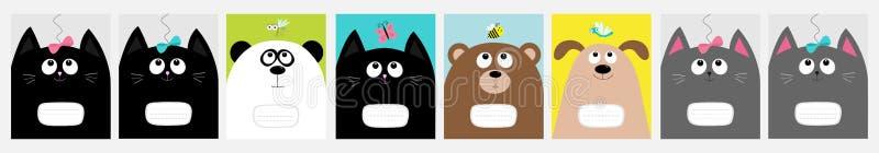 Notatnik pokrywa Dziecko kot, panda, pies, niedźwiadkowa kiciuni głowa Łęk, motyl, dragonfly, pszczoła komar Śliczny postać z kre royalty ilustracja