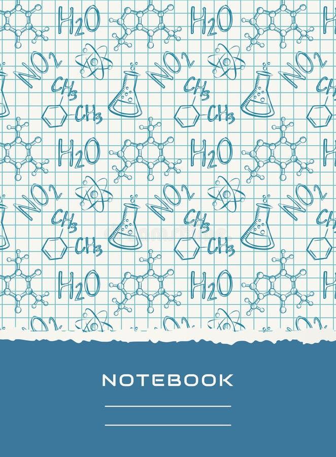 Notatnik pokrywy projekt Wektorowy chemiczny tło ilustracja wektor