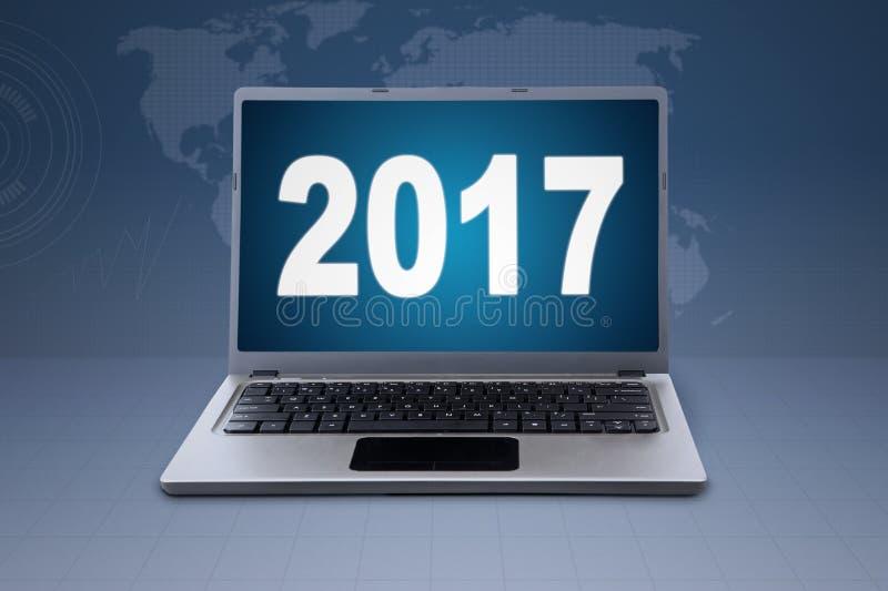 Notatnik 2017 w światowej mapy tle i liczby zdjęcia royalty free