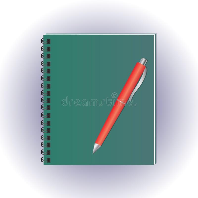 Notatnik w zieleni pokrywie Czerwony pióro wektor Notepad na spirali na białym tle scrapbook ilustracja wektor