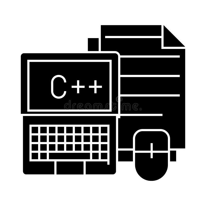 Notatnik z myszy i kartotek ikoną, wektorowa ilustracja, czerń znak na odosobnionym tle ilustracja wektor