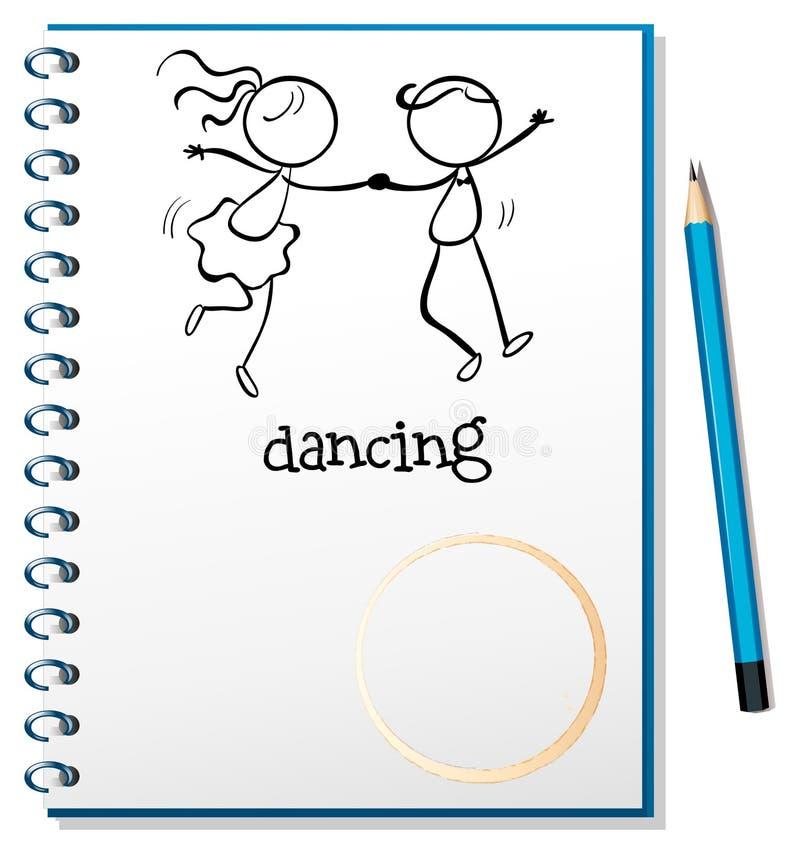 Notatnik z nakreśleniem dziewczyna i chłopiec taniec ilustracja wektor