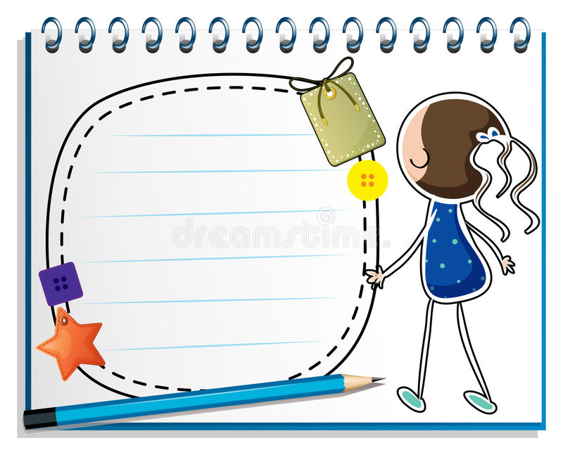 Notatnik z nakreśleniem dziewczyna w błękitnej sukni ilustracja wektor
