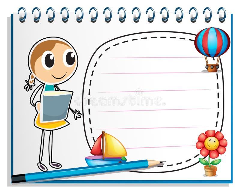 Notatnik z nakreśleniem młoda dziewczyna przy okładkową stroną ilustracja wektor