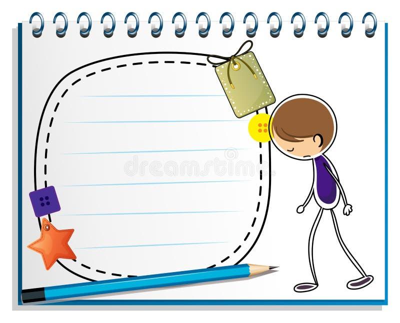 Notatnik z nakreśleniem smutna chłopiec ilustracji