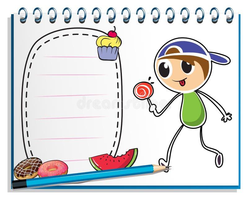 Notatnik z rysunkiem chłopiec je lizaka cukierek royalty ilustracja