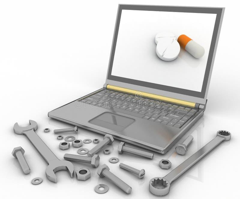 Notatnik z skowami szczegóły dla naprawy i narzędziami ilustracja wektor