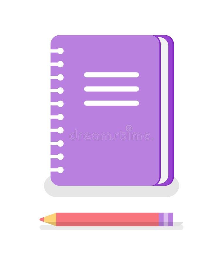 Notatnik z spiralą Pisać notatka ołówka ikonach ilustracja wektor
