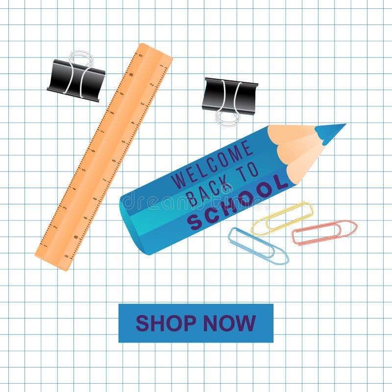 Notatnika copybook siatki papieru notatka, kolorowy ołówek z wyceny powitaniem z powrotem szkoły i szkół suplies rama, kopia royalty ilustracja