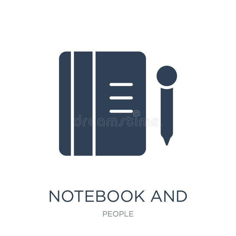 notatnika i ołówka ikona w modnym projekcie projektuje notatnika i ołówka ikona odizolowywająca na białym tle Notatnika i ołówka  royalty ilustracja