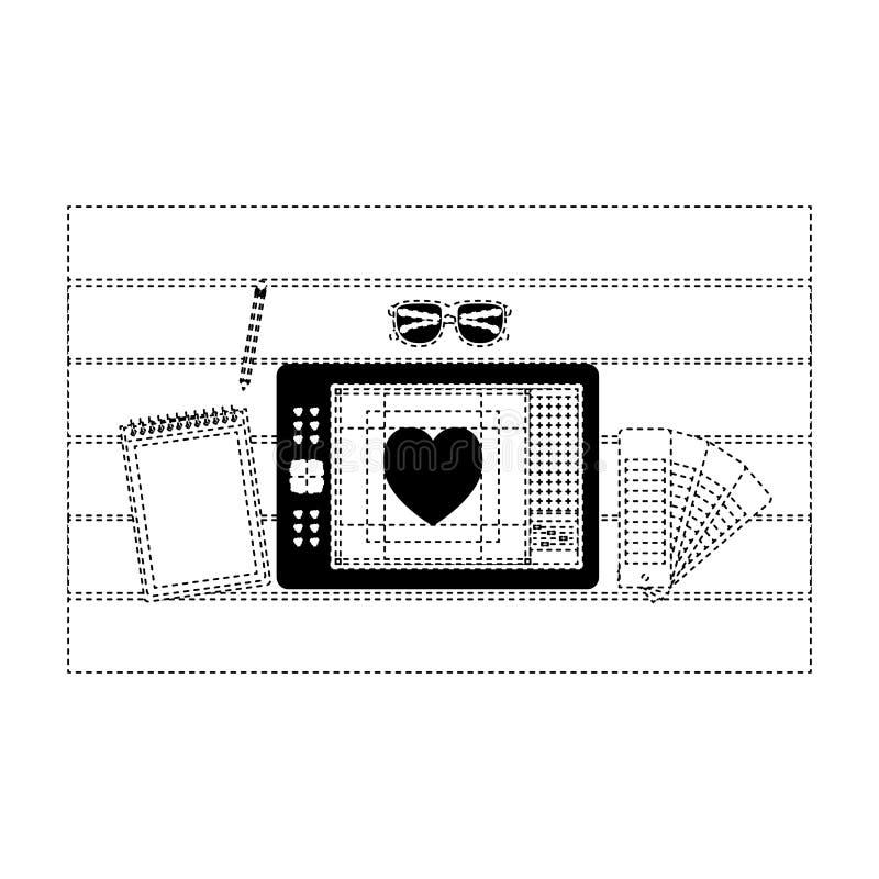 Notatnika i projekta narzędzia i pastylki digitizer nad stołem na odgórnym widoku w czerń kropkującym konturze royalty ilustracja