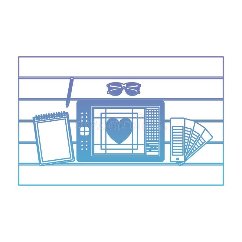 Notatnika i projekta narzędzia i pastylki digitizer nad stołem na odgórnym widoku w spodlonych purpurach błękita kontur ilustracji