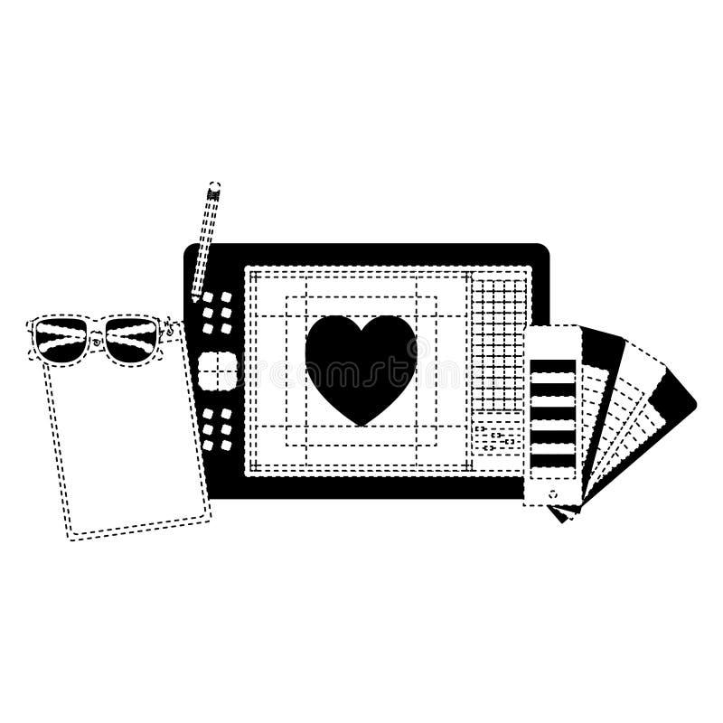 Notatnika i projekta narzędzia i pastylki digitizer w czerń kropkującym konturze ilustracji