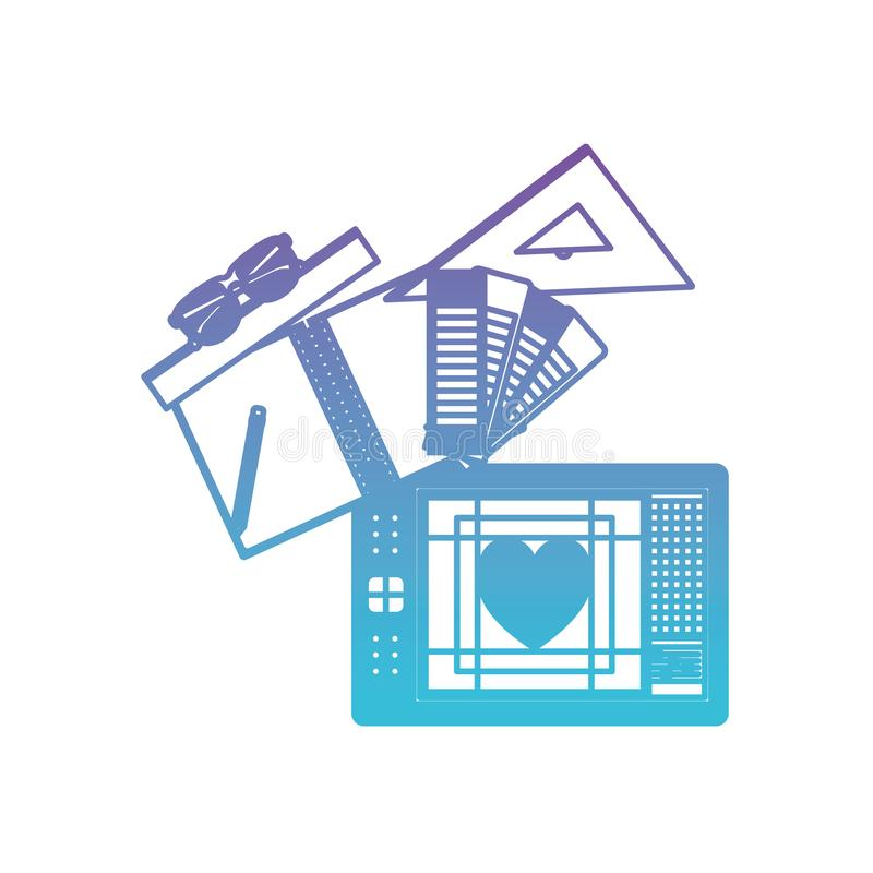 Notatnika i projekta narzędzia i pastylki digitizer w spodlonych purpurach błękita kontur ilustracji