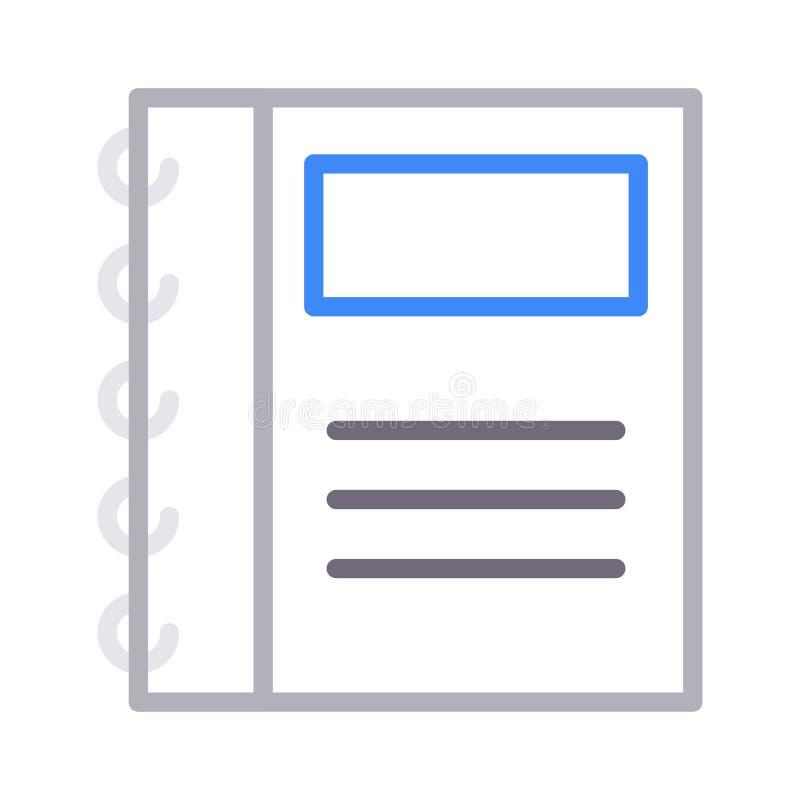 Notatnika koloru linii wektoru cienka ikona ilustracji
