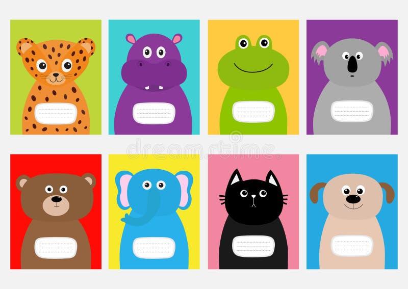 Notatnika okładkowy kot, pies, jaguar, hipopotam, słoń, niedźwiedź, żaba, koala Zoo zwierzęcej twarzy Śliczny postać z kreskówki  royalty ilustracja