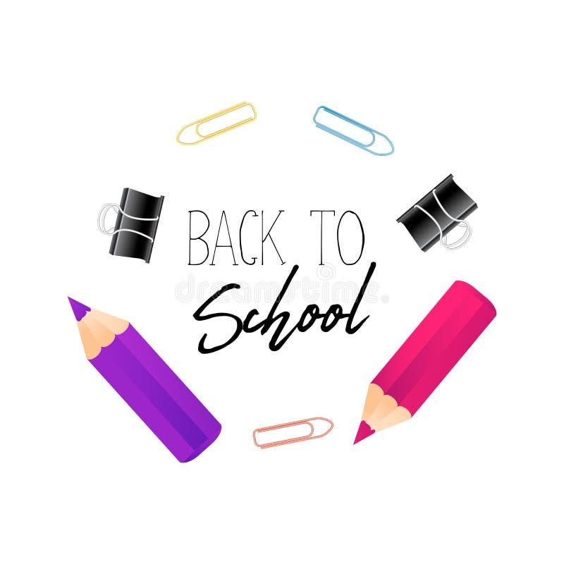Notatnika papier, realistyczny kolorowy ołówek z wyceną z powrotem i szkół suplies, szkoła, graniczymy Odbitkowy astronautyczny m ilustracja wektor