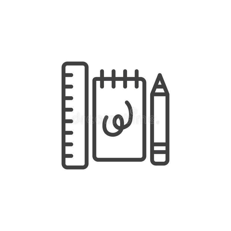 Notatnika pióro i władcy linii ikona royalty ilustracja