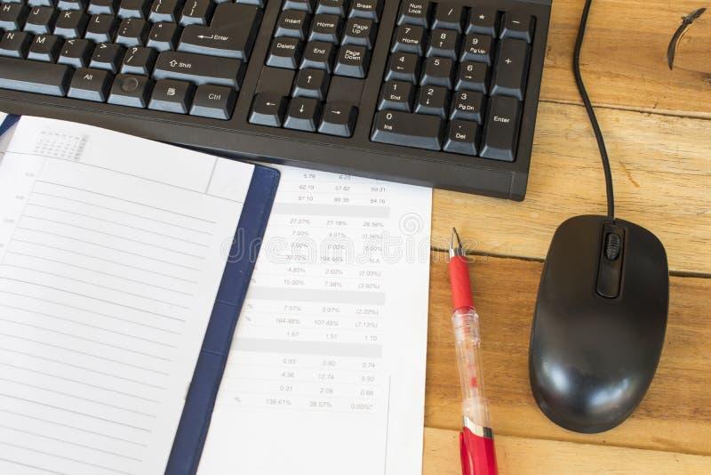 Notatnika planista, sprawozdanie finansowe dla biznesowej pracy obraz royalty free