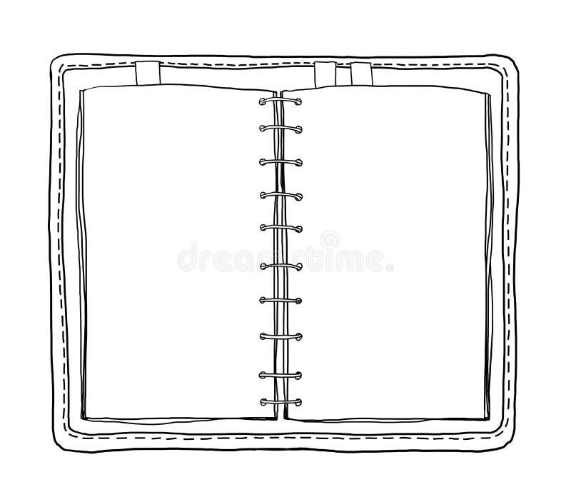 Notatnika rocznik na białym tle maluje kreskową sztukę royalty ilustracja