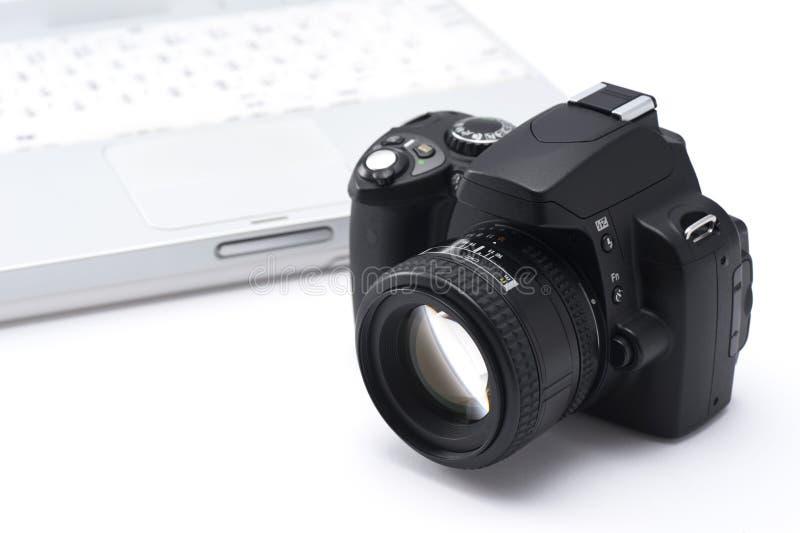 Notatnika SLR i peceta kamera obrazy royalty free