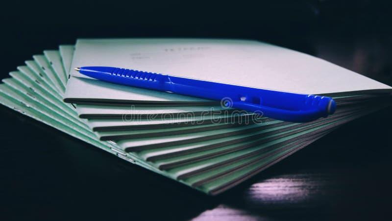 Notatniki i piszą wszystko dla szkoły fotografia stock