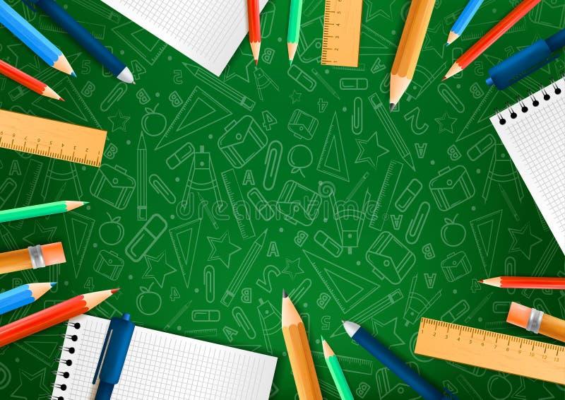 Notatniki z deferent ołówkami w realistycznym stylu na zielonym tle z szkolnymi doodle ilustracjami r?wnie? zwr?ci? corel ilustra ilustracji