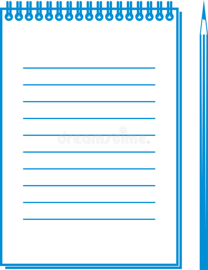 Note. Simple illustration of pencil and notepad stock illustration