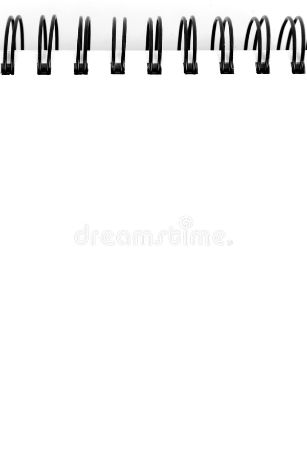 Note. Black spiral note with white clear sheets stock photo