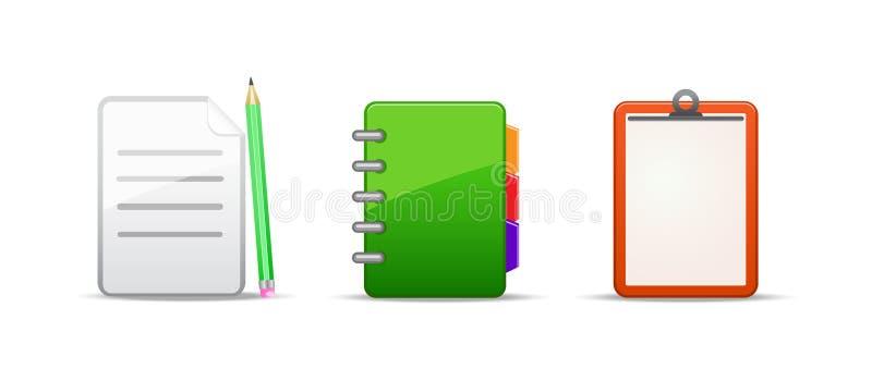 Note address book icon set. Isolated on white background stock illustration