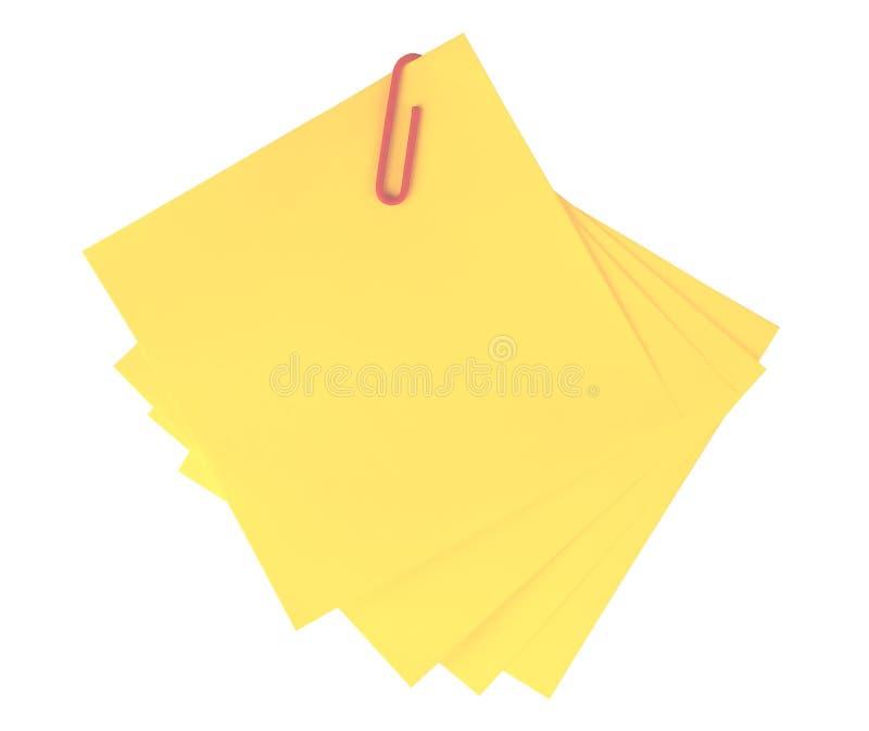 Note adhésive jaune d'isolement photos libres de droits