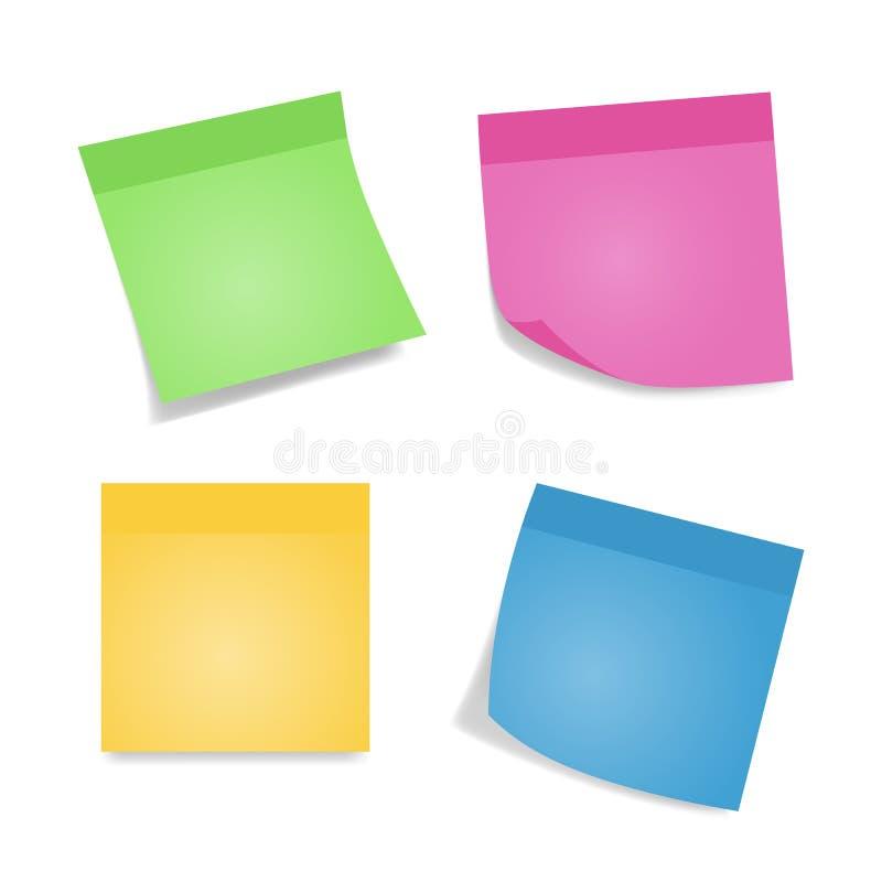Note appiccicose Quattro fogli delle carte per appunti variopinti isolate su fondo bianco Colore differente ed ombra illustrazione di stock