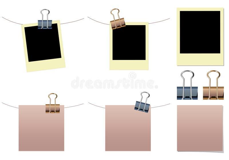 Note blanc, polaroïd avec des clips de cahier illustration stock