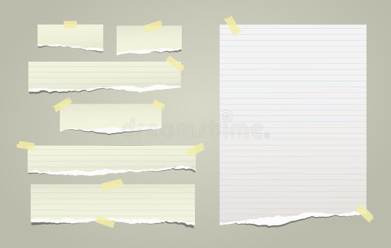 Note blanche et verte, bandes de papier de carnet avec les bords déchirés coincés avec la bande collante jaune sur le fond vert V illustration stock