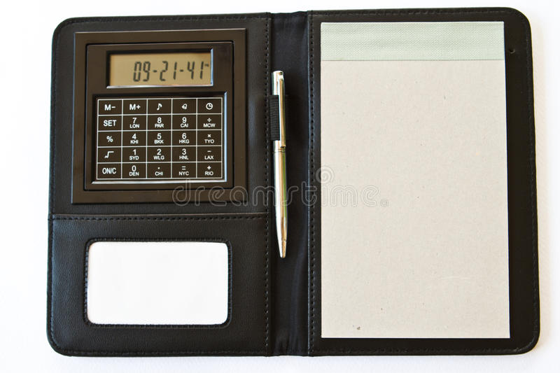 Note Book. With Calculator , Pen stock photography
