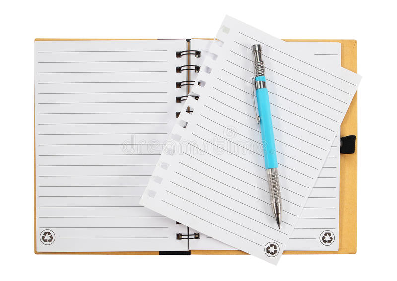 Note book and pen. isolated on white background royalty free stock photos
