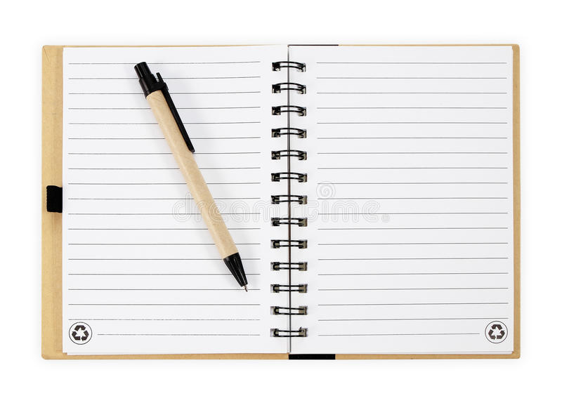 Note book with pen. isolated on white background royalty free stock photo