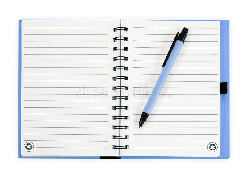Note book with pen. isolated on white background royalty free stock images