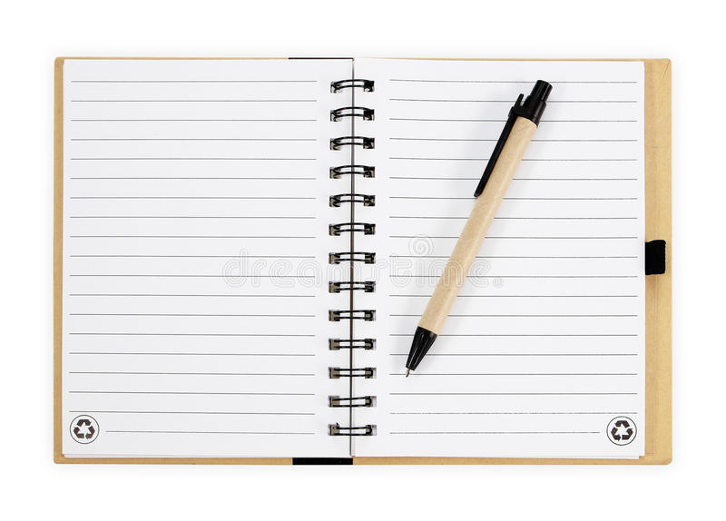 Note book with pen. isolated on white background stock photos