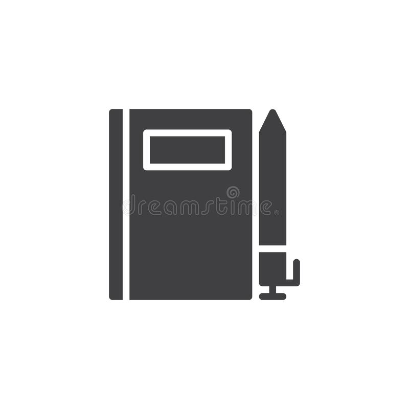 Note Book and pen vector icon. Filled flat sign for mobile concept and web design. writing simple solid icon. Symbol, logo illustration. Pixel perfect vector vector illustration