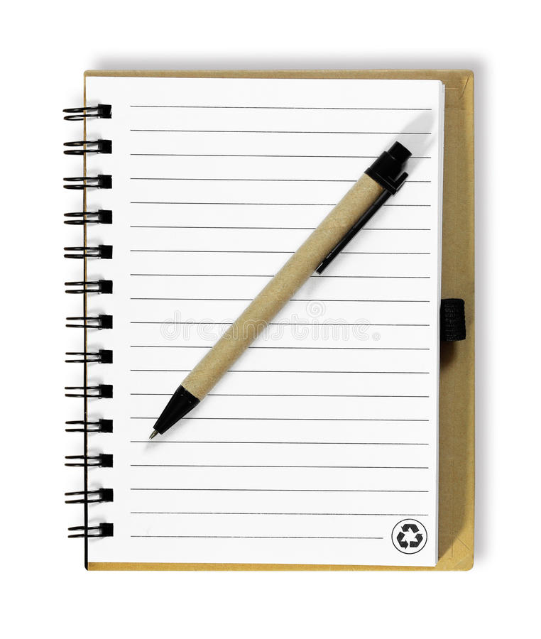 Note book with pen. on white background stock photo