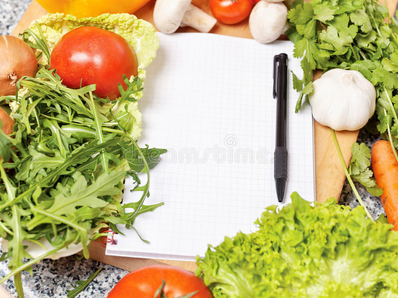 Download Note Book Among The Vegetables Stock Photo - Image: 25363730
