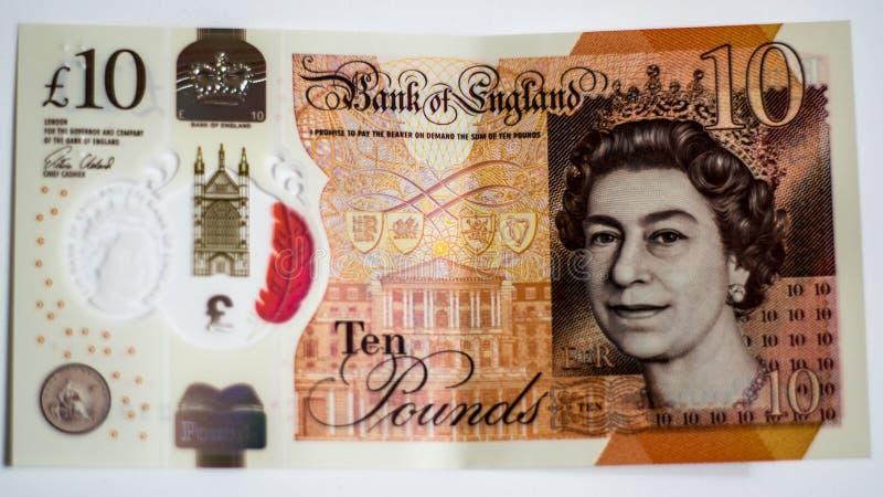 Note BRITANNIQUE de devise de polymère de banque photographie stock libre de droits