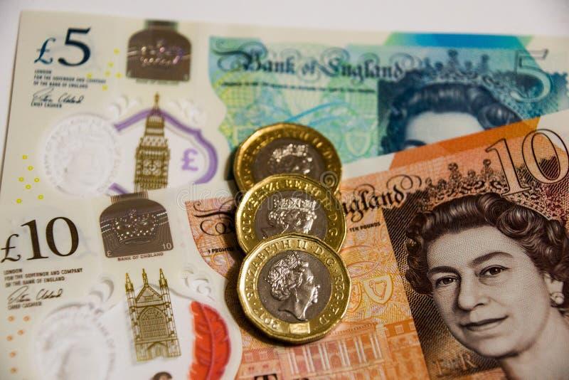 Note BRITANNIQUE de devise de polymère de banque photo libre de droits